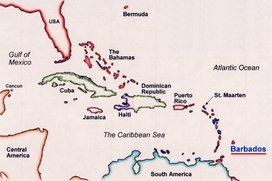 Barbados locator map