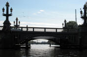 Amsterdam bridge in silhouette