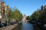 Typical Amsterdam street and canal