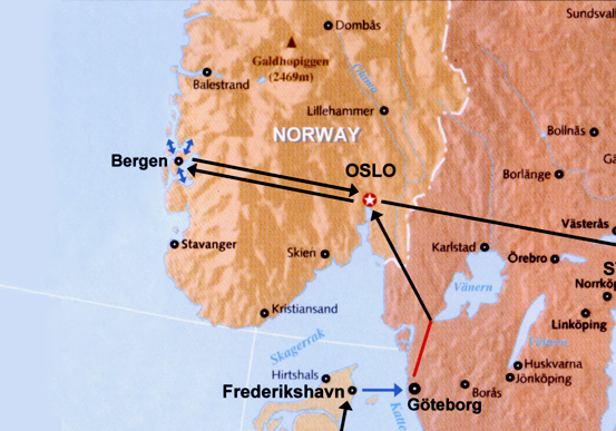 Norway route map