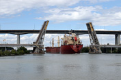 Federal Satsuki passing through Homer double leaf bridge on Welland Canal