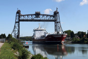 Tanker Algonorth passing through Allanburg veretical lift bridge on Welland Canal