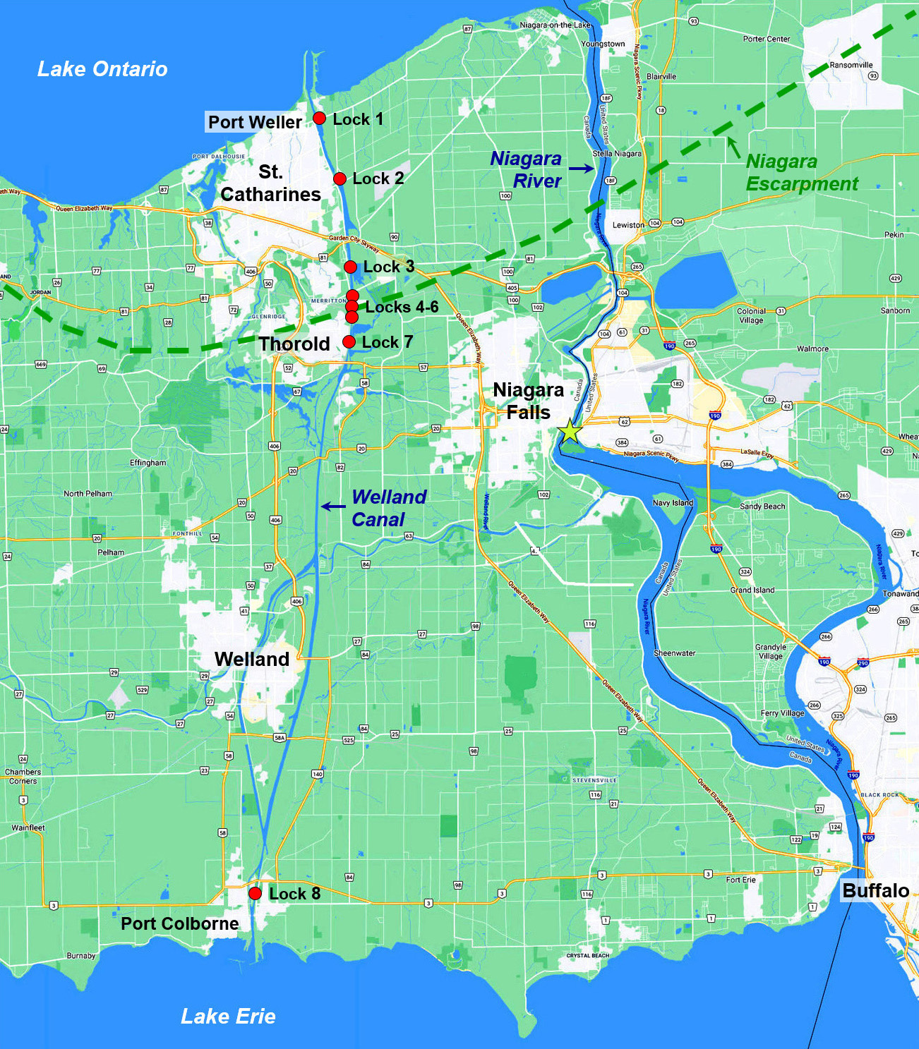 Niagara Peninsula and Welland Canal map